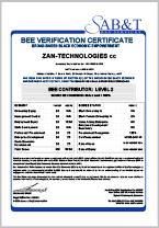 SAB&T BEE Verification Certificate